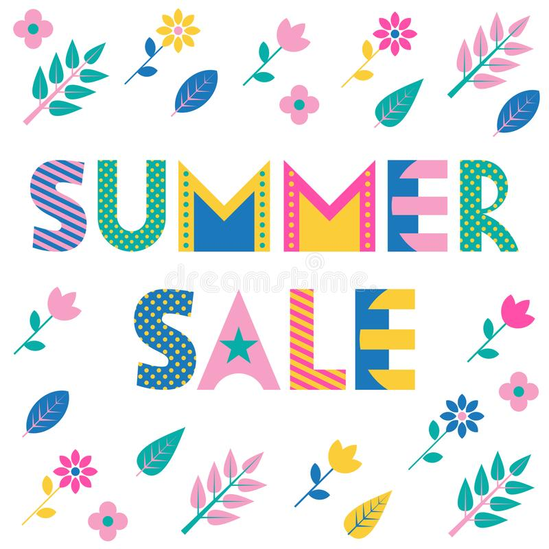 Summer Sale. Trendy geometric font. Text, foliage and flowers isolated on a white background. royalty free illustration