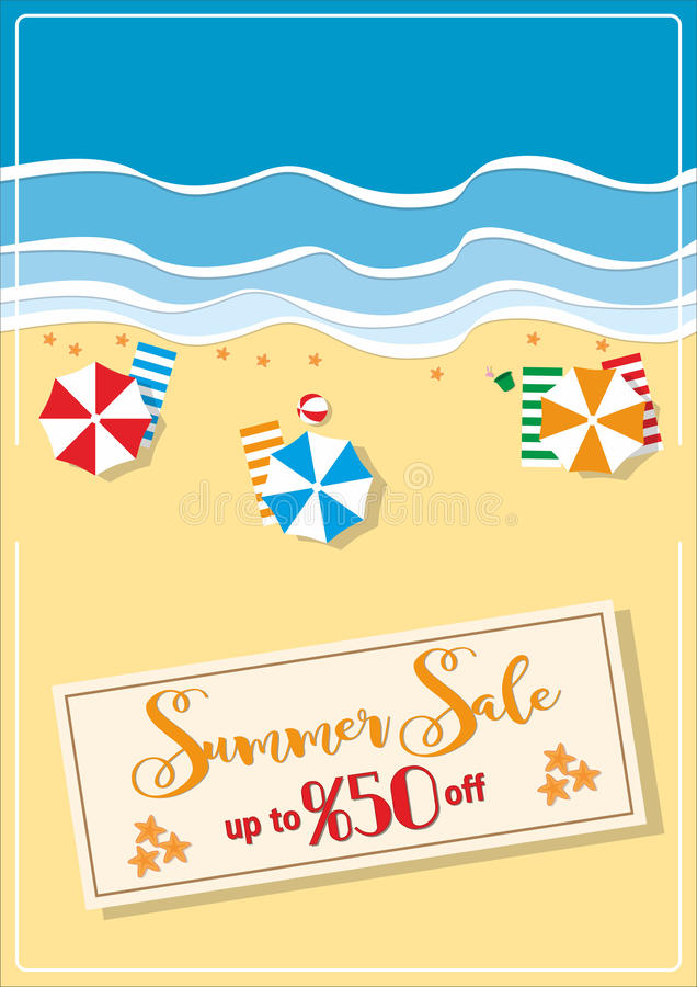 Summer sale with umbrellas and starfishes poster. A4 size vector illustration