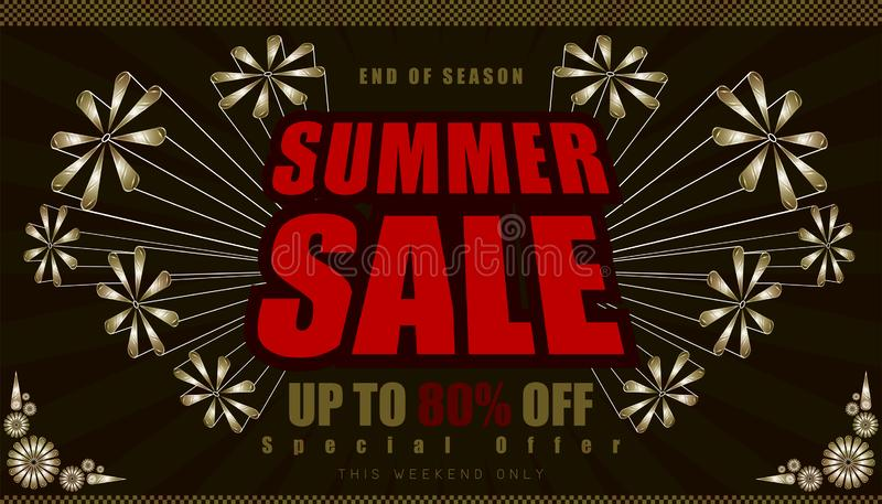 Summer sale up to 80% end of year special offer. vintage retro element firework explode from center. vector illustration eps10. Summer sale up to 80% end of year royalty free illustration