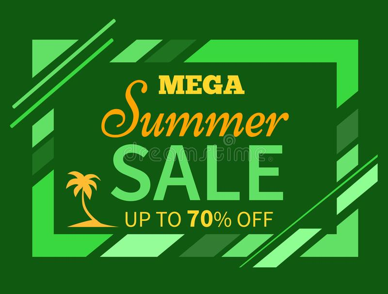 Summer Sale up to 70 off Colorful Illustration. Mega summer sale up to 70 percent poster with text isolated on green background. Silhouettes of palm trees in vector illustration