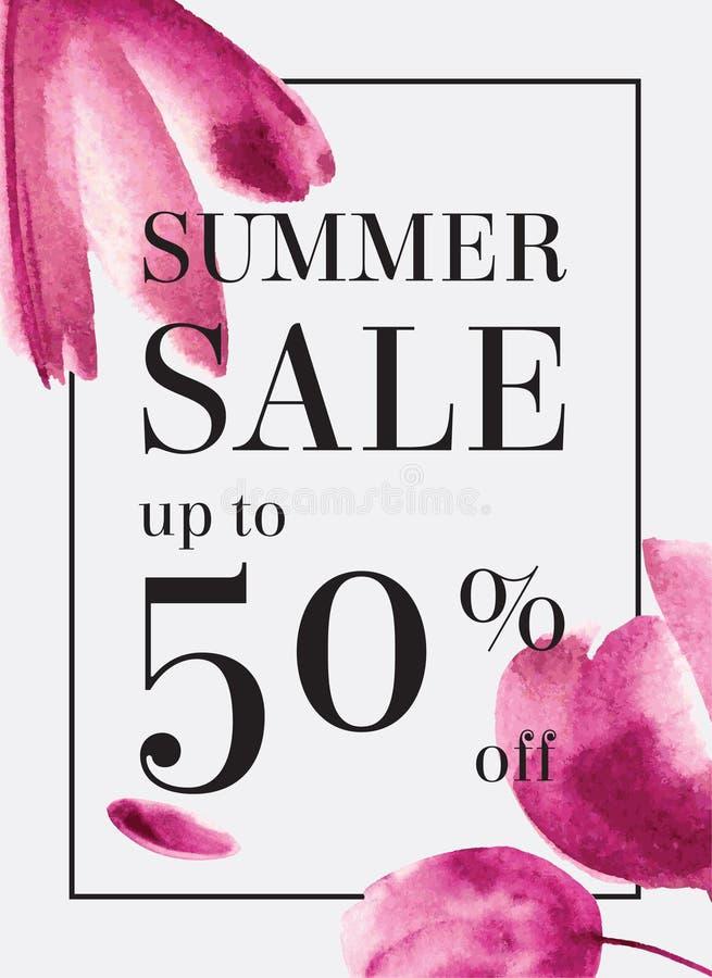 Summer sale up tu 70 per cent off. Watercolor design. Web banner royalty free illustration