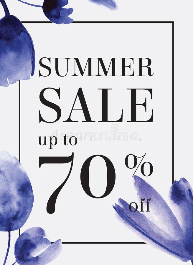 Summer sale up tu 70 per cent off. Watercolor design. Web banner royalty free illustration