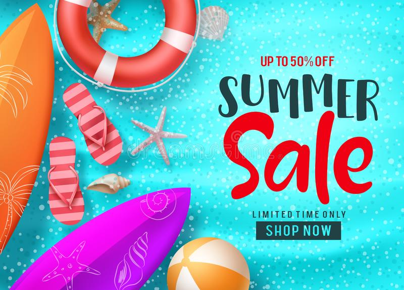Summer sale vector banner background template. Summer sale shopping discount text and colorful beach elements vector illustration