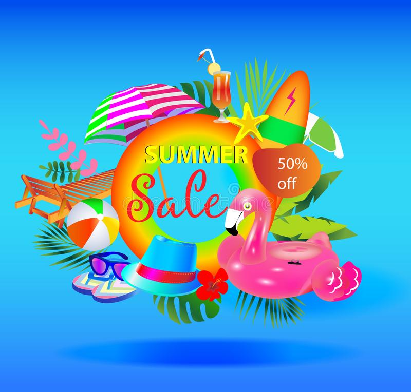 Summer sale vector banner design with colorful beach elements. royalty free illustration