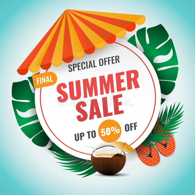 Summer sale vector banner design with colorful summer elements royalty free illustration