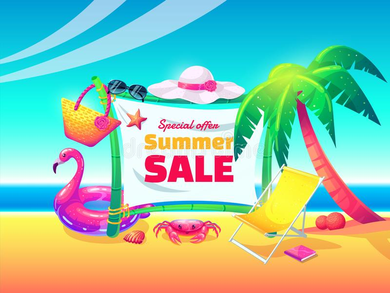 Summer sale vector banner design for promotion with colorful beach elements royalty free illustration