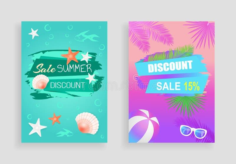 Summer Sale Vector Banner Promotion Leaflet Sample stock illustration
