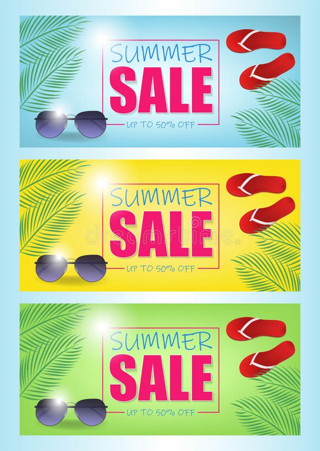 Summer sale vector banner set with 50 off discount text and summer elements in colorful backgrounds for web shopping vector illustration