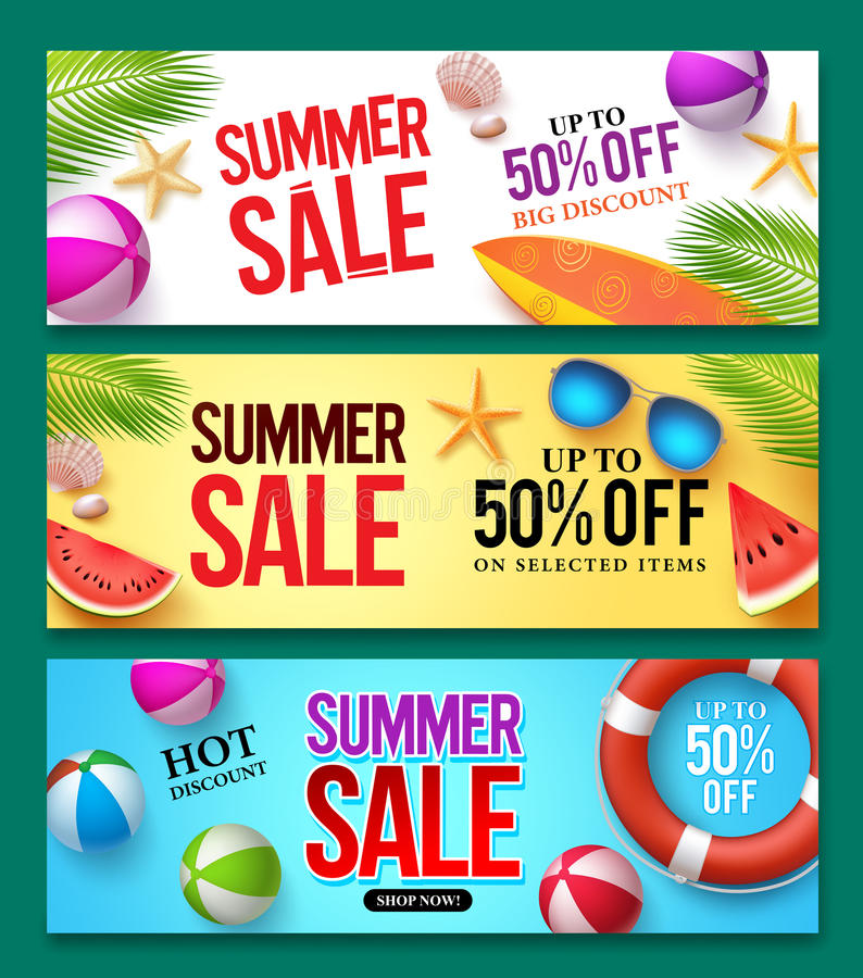 Summer sale vector banner set with 50% off discount text and summer elements stock illustration