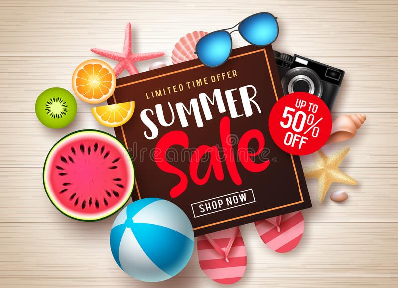 Summer sale vector banner template. Summer sale promotional discount text in frame with colorful summer elements stock illustration