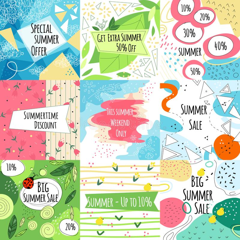 Summer sale vector banners set royalty free illustration