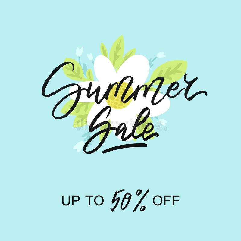 Summer sale - vector illustration with handwritten text, flowers, leaves and lips on the background. royalty free stock photography