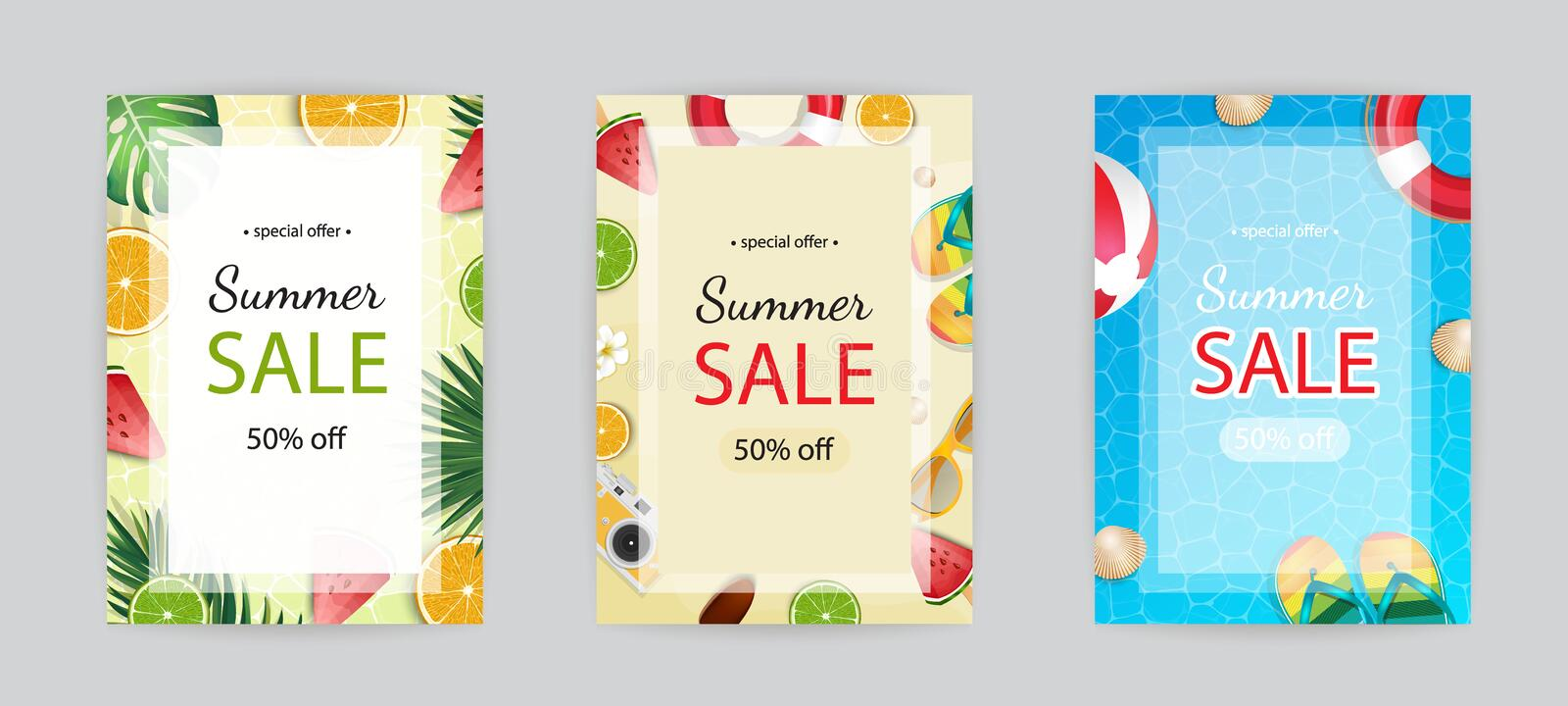 Summer sale vector poster, banner template. Season backgrounds set. Tropical frame with sand beach, water, leaves and fruits, ice stock illustration