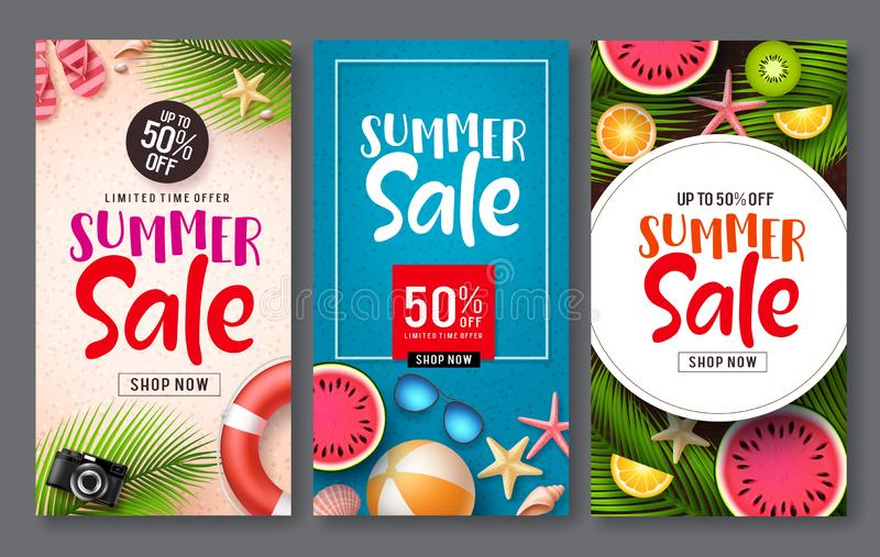 Summer sale vector poster set. Summer sale discount text with beach elements like tropical fruits and beach ball stock illustration