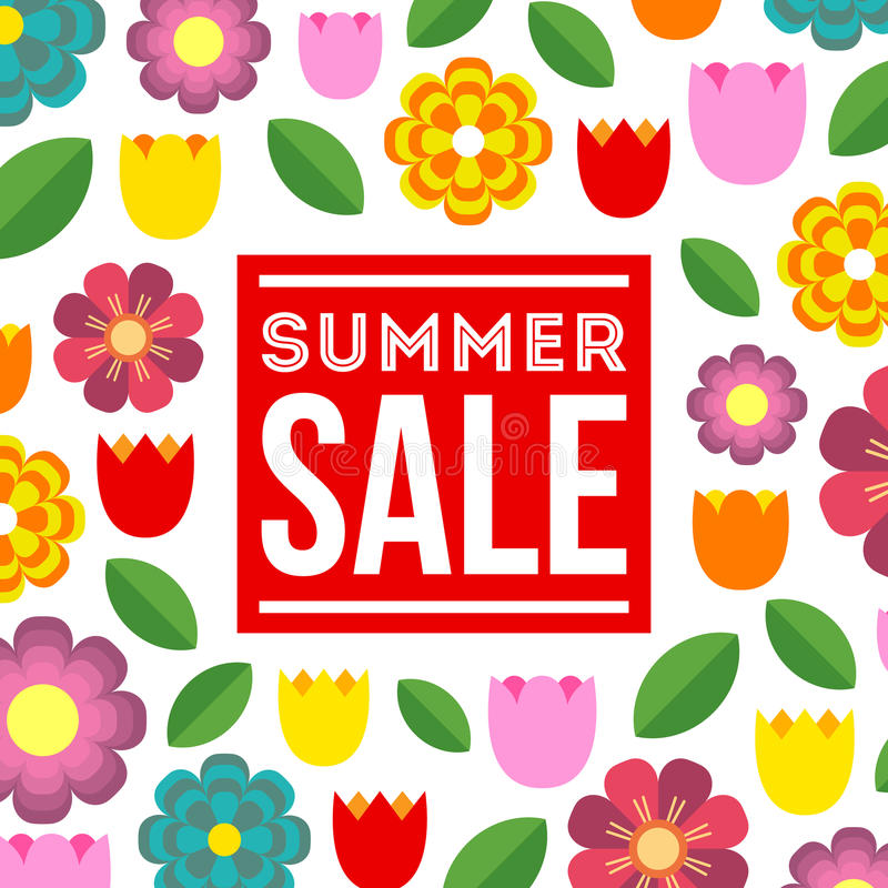 Summer Sale. Vector summer concept with flower background. vector illustration