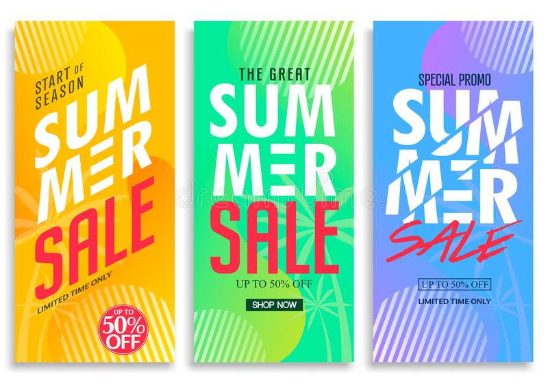 Summer Sale Vertical Pull Up Banner Set with Bright Vivid Gradient Background royalty free illustration