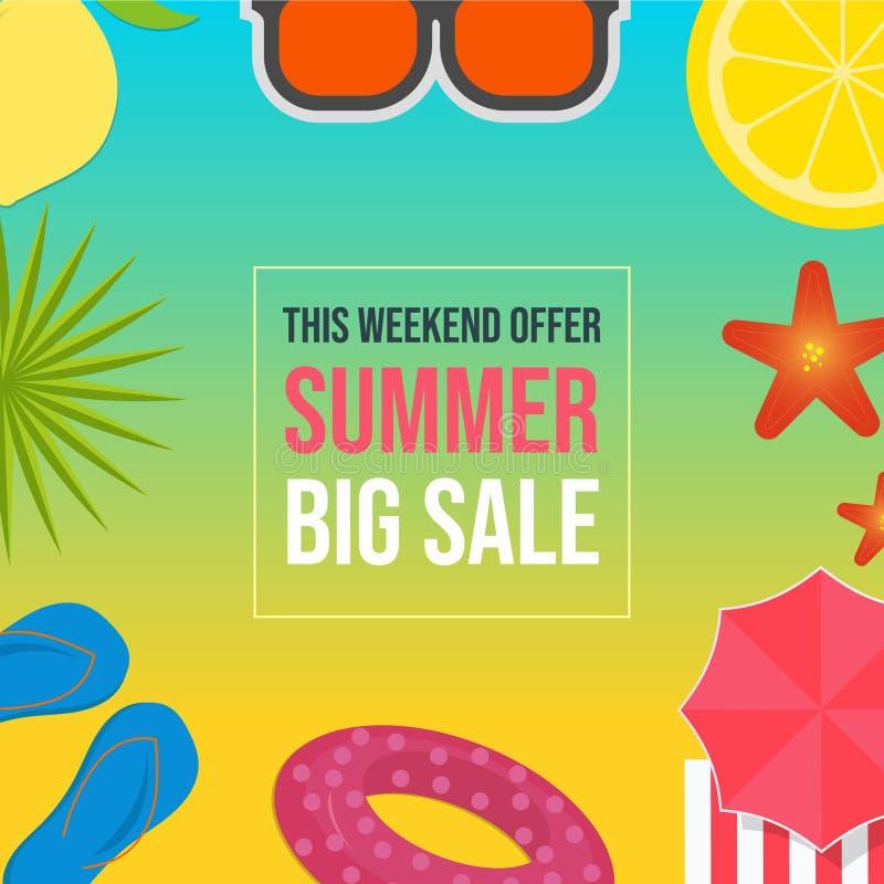Summer sale web banner template vector illustration