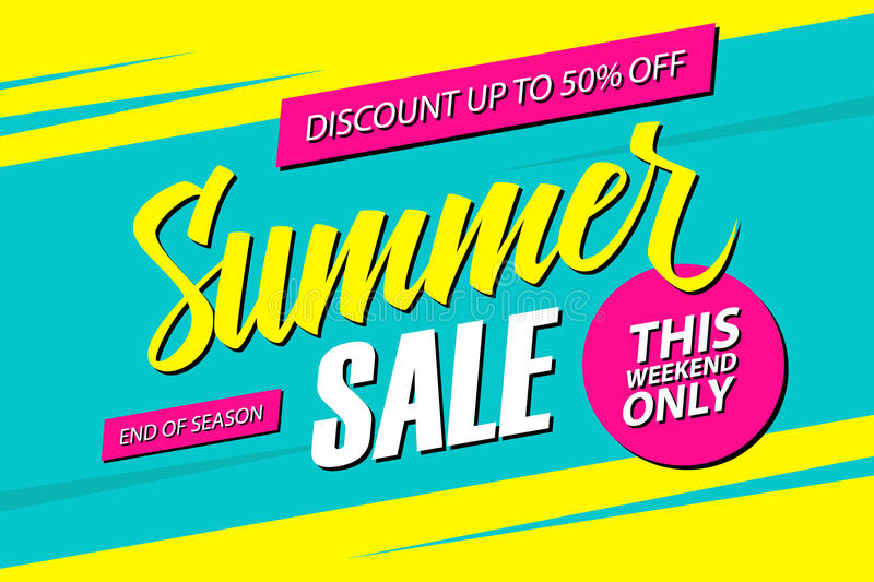 Summer Sale. This weekend special offer banner, discount 50% off. End of season. royalty free illustration