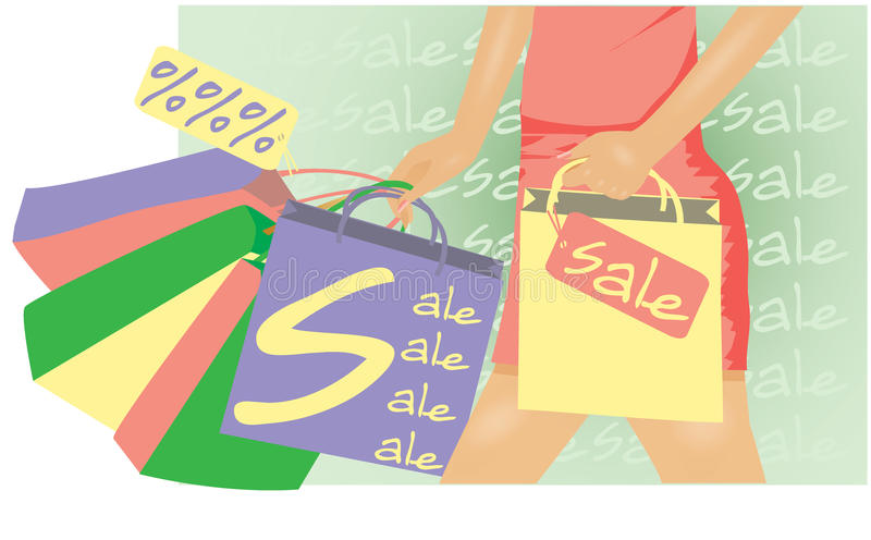 Download Summer sale Woman shopping stock vector. Illustration of girl - 24037780