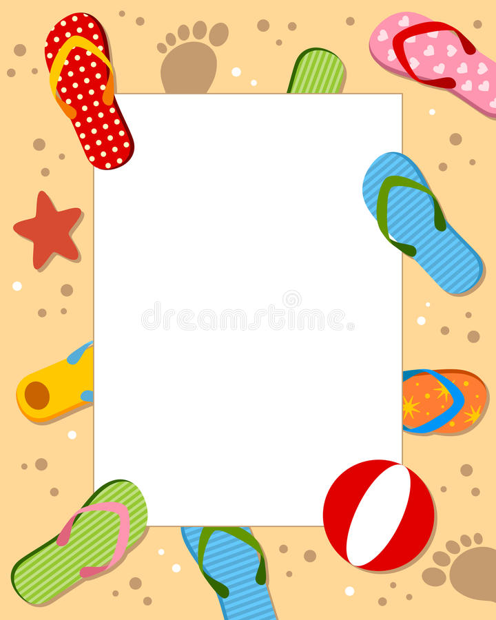 Summer Sand Beach Photo Frame vector illustration