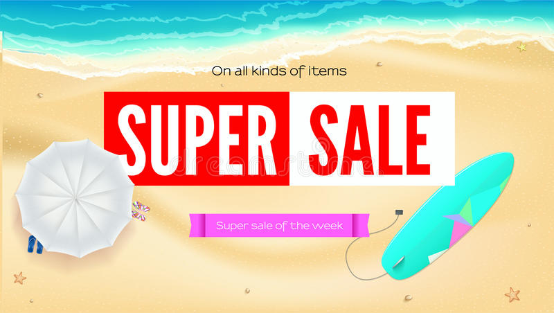 Summer sand of beach on the seashore. Selling ad banner. Summer super vacation discounts. Umbrella, beach Mat and vector illustration