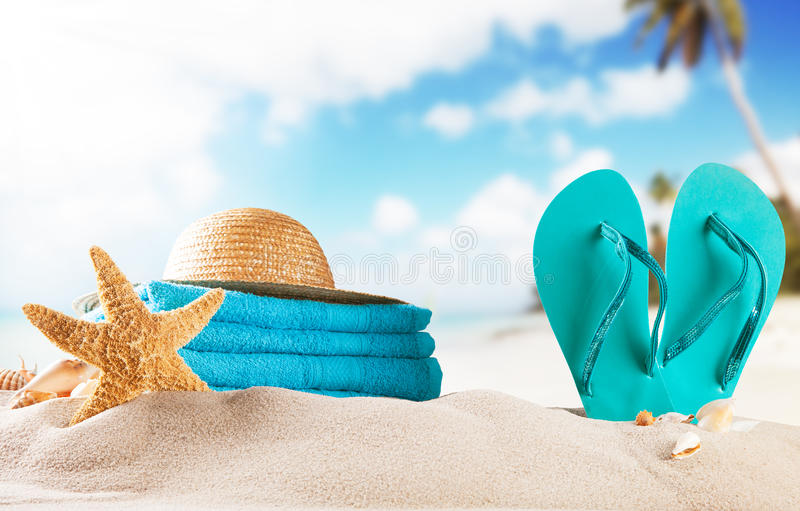 Summer. Sandy summer beach with blur sea on background stock photography