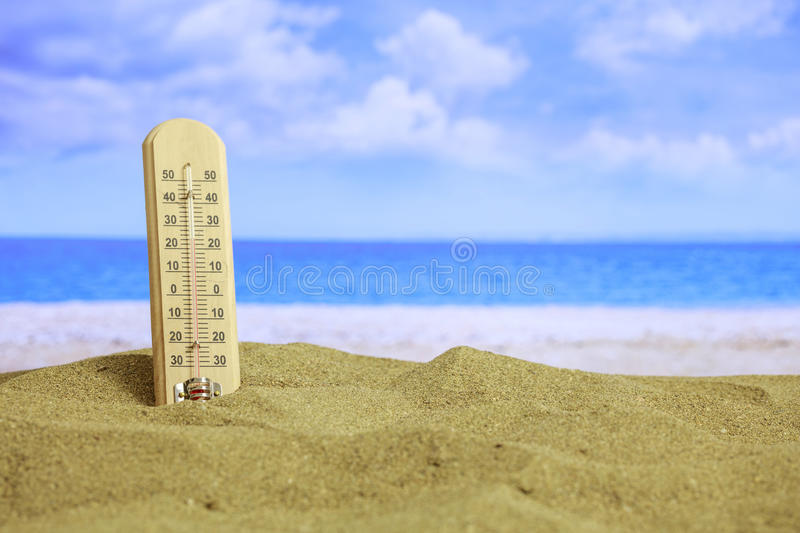 Summer sandy beach - temrerature stock photo