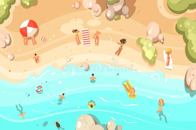 Summer sandy beach with vacationers vector illustration