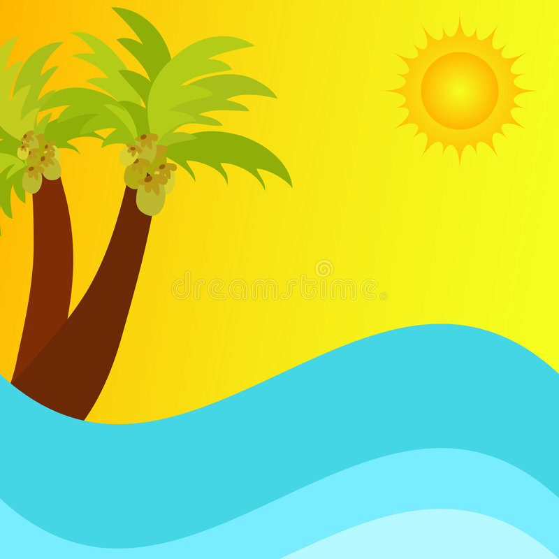 Summer scene. With bright sun and palm trees stock illustration