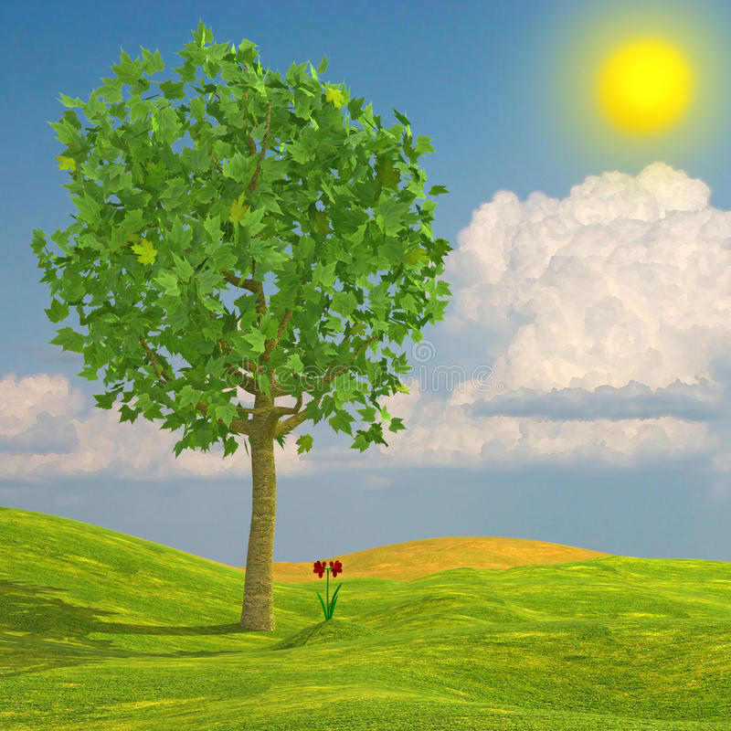 Download Summer scene stock illustration. Image of fresh, branch - 25317982