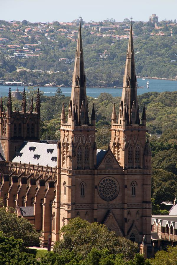 View of St Mary`s cathedral with the harbor in the background royalty free stock image