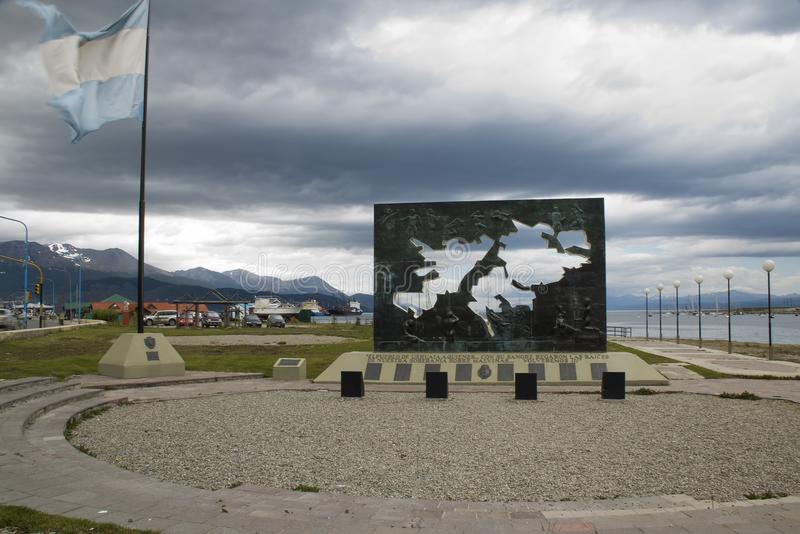View of the war memorial commemorating the 1982 Islas Malvinas or Falkland Islands stock photography