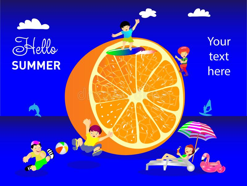 Summer scene, a group of people, friends having fun against a huge orange, surfing, children playing soccer, drinking cold drinks, vector illustration