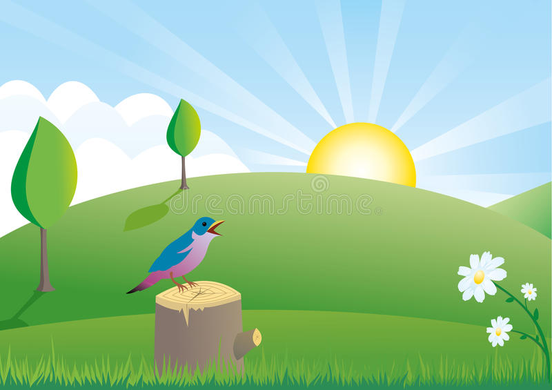 Summer Scene With Little Bird Royalty Free Stock Photo