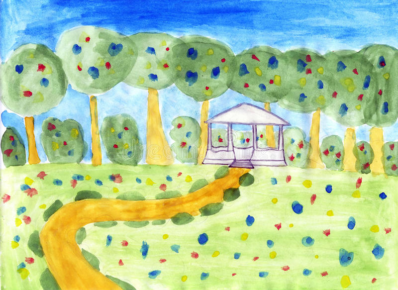 Summer scenery - kids drawing stock photography