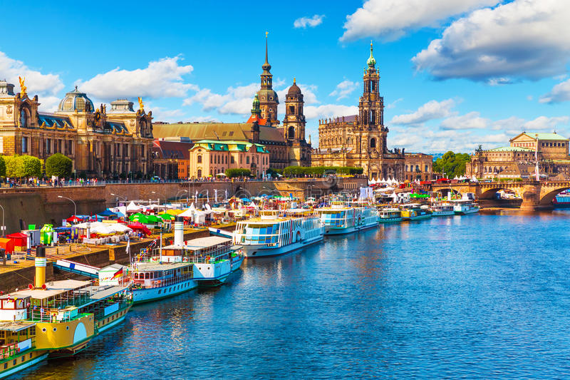 Summer scenery of the Old Town in Dresden, Germany. Scenic summer view of the Old Town architecture with Elbe river embankment in Dresden, Saxony, Germany royalty free stock photos