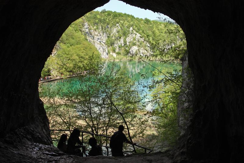 Summer scenery on Plitvice Lakes. CROATIA PLITVICE, 29 APRIL 2018: Summer scenery on Plitvice Lakes, view from the cave, Croatia stock photo