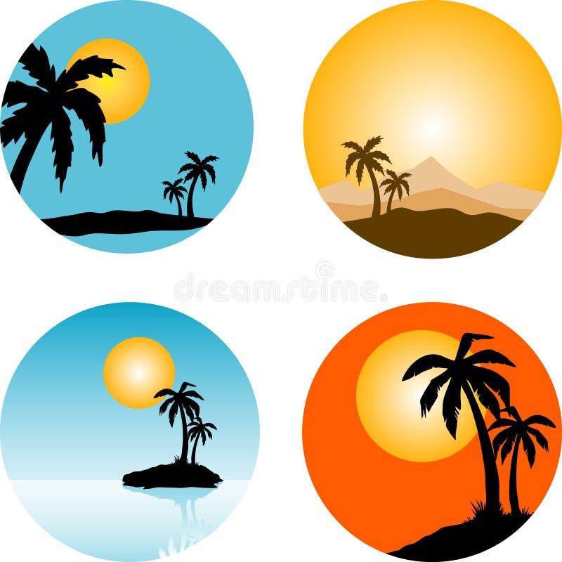 Summer scenes vector illustration