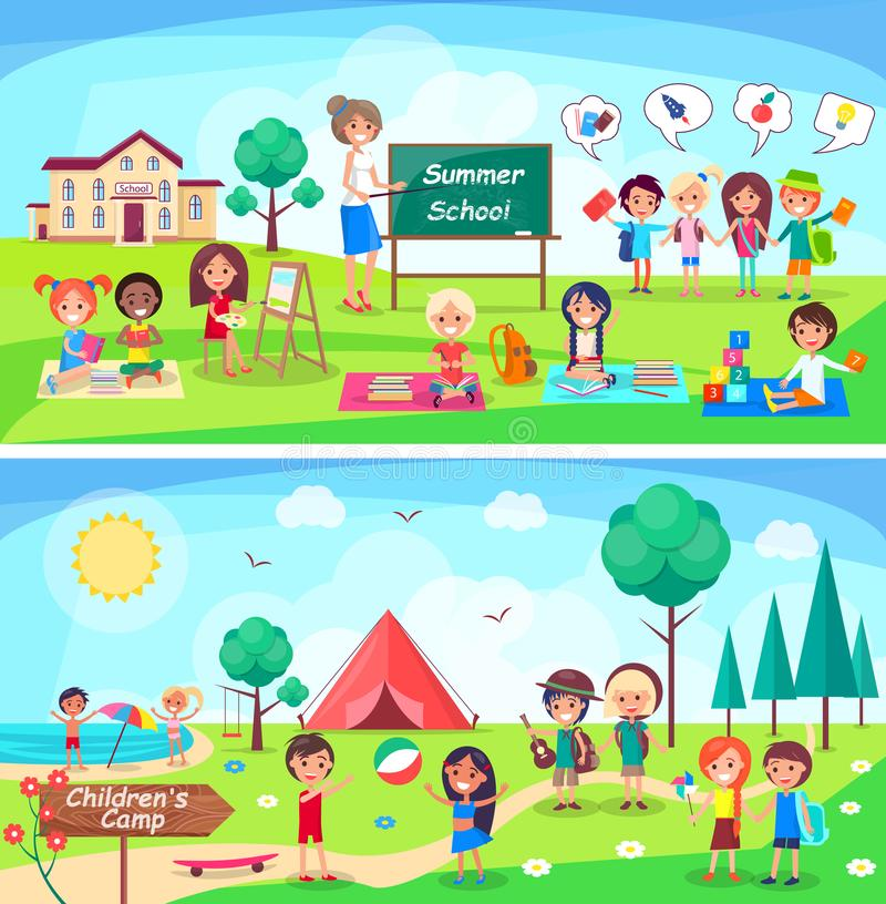Summer School and Childrens Camp Illustrations royalty free illustration