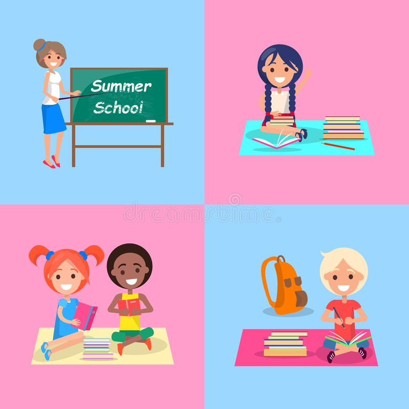 Download Summer School Set Of Posters With Kids And Teach Stock Vector