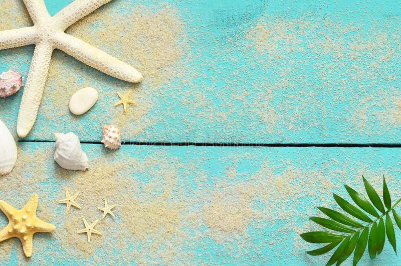 Summer sea background. Seashells, starfish and palm branch on a wooden blue background royalty free stock photo