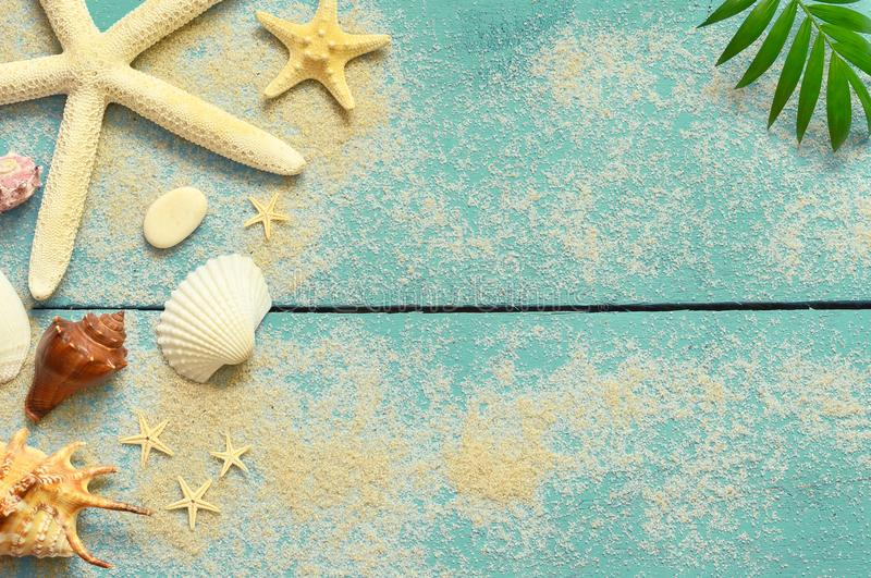 Summer sea background. Seashells, starfish and palm branch on a wooden blue background stock images