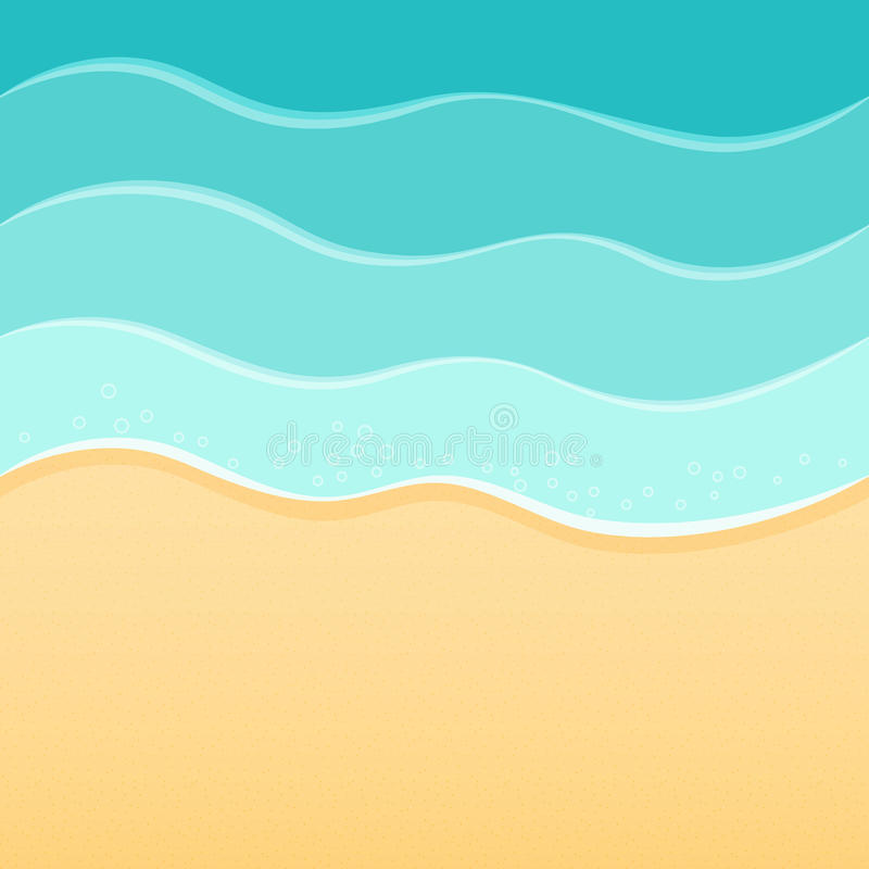 Summer sea beach background, waves and sand. Travel resort relax spa concept. stock illustration