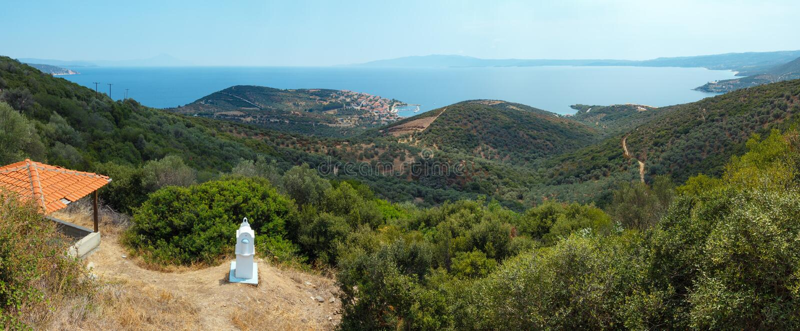 Summer sea coast Halkidiki, Greece. Summer Aegean sea coast top panorama view. The Pyrgadikia village on shore Sithonia, Halkidiki, Greece royalty free stock image