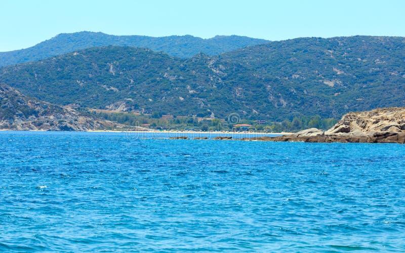 Summer sea coast Halkidiki, Greece. Summer sea view from coast Valti, Sithonia, Halkidiki, Greece royalty free stock images