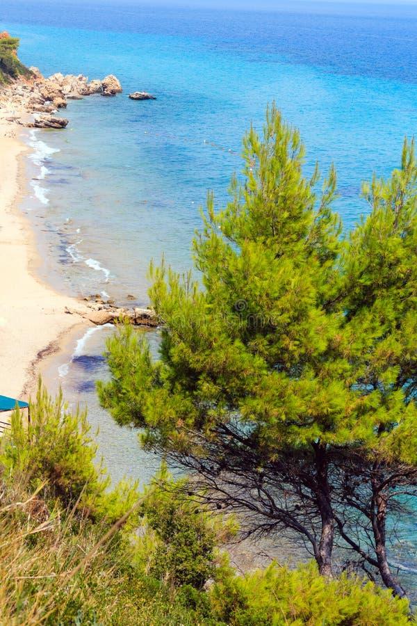 Summer sea coast Halkidiki, Greece. Summer sea coast morning landscape Kassandra peninsula, Halkidiki, Greece royalty free stock image