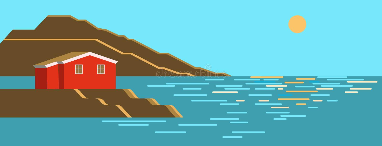 Summer sea day, sun noon colorful landscape with brown stone cliff, little red house stock illustration