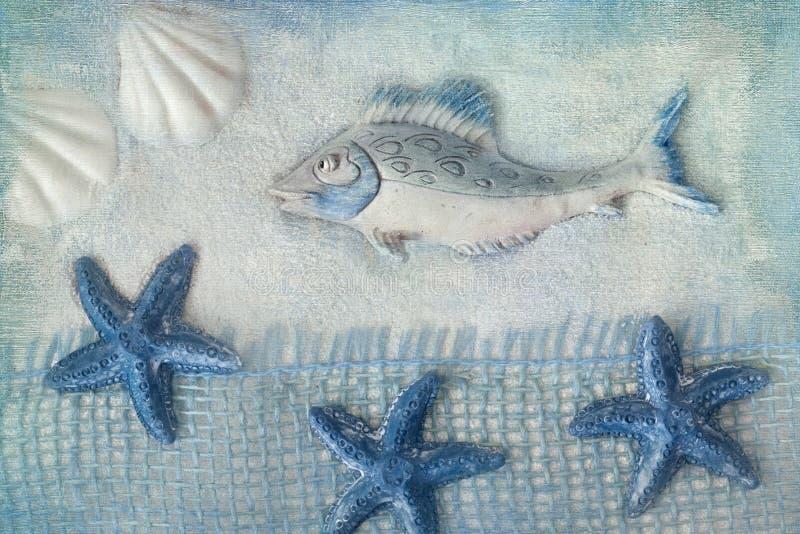 Summer sea decoration. Fish and sea stars stock photo