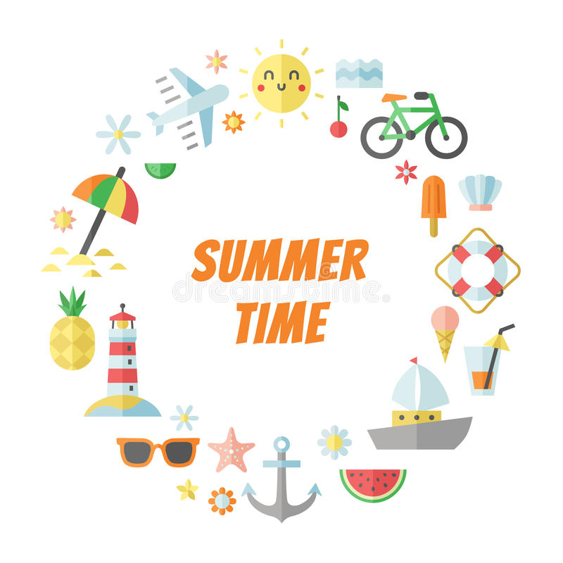 Summer and sea flat circle vector frame. vector illustration