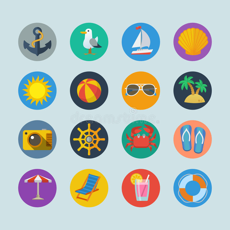 Summer sea holidays icons stock image